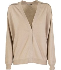 brunello cucinelli cashmere cardigan with shiny shoulder embroidery