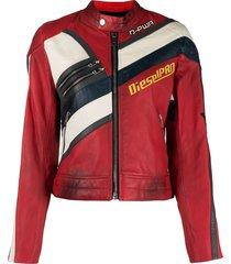 diesel distressed-effect biker jacket - red