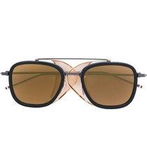 thom browne eyewear black & gold mesh side sunglasses