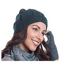 100% alpaca knit hat, 'andean comfort in teal' (peru)