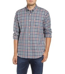 men's barbour coll tailored fit check thermo-tech button-down shirt, size small - grey