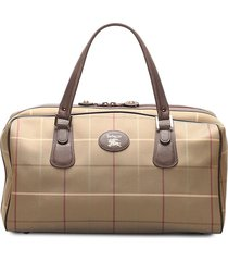 burberry pre-owned plaid boston tote bag - brown