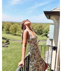danielle bernstein floral-print lace-inset midi dress, created for macy's