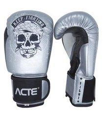 luva boxe acte sports premium p14, cor: prata/preto, tamanho: 14