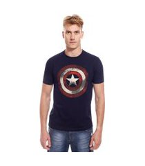 camiseta manga curta com estampa marvel capitão américa | avengers | azul | g