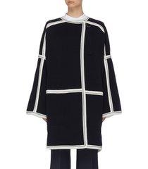 contrast paneled raglan knit cardigan