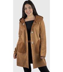 abrigo gamuza capucha mujer café enigmática boutique
