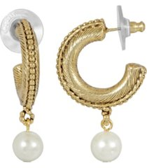 2028 women's 14k gold dipped imitation pearl drop hoop earrings