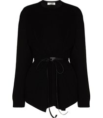 valentino belted knitted jumper - black