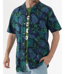tommy hilfiger palm tree print open collar shirt - night sky mw0mw09945
