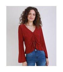 blusa feminina cropped estampada de poá com amarração manga sino decote v vermelha