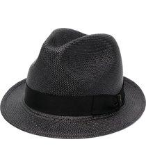 borsalino wide-brim straw hat - black