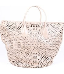 alaia laser cut leather tote bag