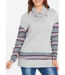 plus size geometric cowl neck sweatshirt