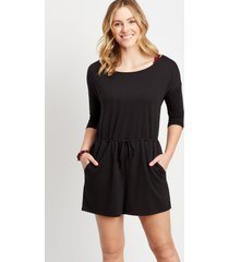 maurices womens 24/7 black drawcord pocket romper