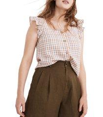 women's madewell women's gingham seersucker ruffle strap button-up tank, size large - blue