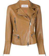 sylvie schimmel metro glove zipped biker jacket - brown