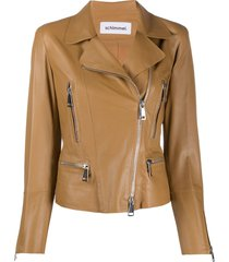 sylvie schimmel metro glove zipped biker jacket - brown