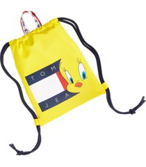 tommy hilfiger men's space jam: a new legacy x tommy jeans tommy jeans tweety bird flag drawstring backpack