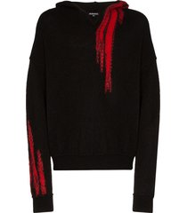 ann demeulemeester embroidered knit hoodie - black