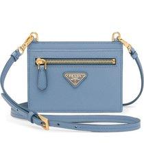 prada shoulder strap card holder - blue