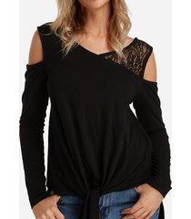 detalles de encaje negro camisetas de manga larga con hombros descubiertos y nudos