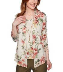 alfred dunner petite floral-print layered-look top