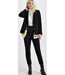 blazer de alfaiataria com lenço de viscose estampado preto