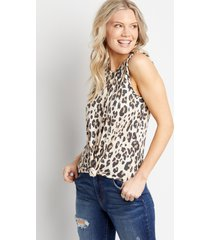 maurices womens 24/7 leopard braided arm tank top beige