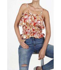camisa para mujer tennis, estampada y de tiras