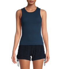hard tail women's fast back cotton tank top - pastel blue