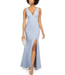 betsy & adam deep v-neck gown