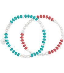 lucky brand silver-tone 2-pc. set imitation pearl & stone beaded stretch bracelets