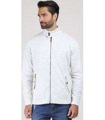 jaqueta masculina em moletom com bolsos gola alta cinza mescla claro