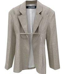 neutral linen-blend blazer