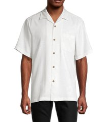 tommy bahama men's down the hatch silk camp shirt - continental white - size xs