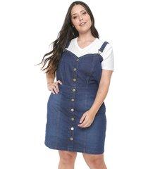 jardineira jeans feminina plus size da cambos azul