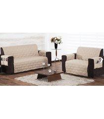 protetor de sofá 2 e 3 lugares caqui com 2 peças tecido poliester - capa para sofá - aquarela