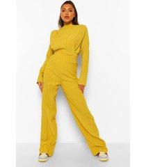 getextuurde wide leg broek met hoge taille, chartreuse