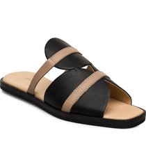 189g black nude leather shoes summer shoes flat sandals svart gram