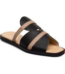 189g black nude leather shoes summer shoes flat sandals svart gram