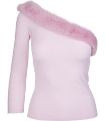 blumarine pink one shoulder sweater with mink