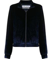 off-white logo-embroidered velour track jacket - blue