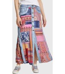 falda desigual larga multicolor - calce regular
