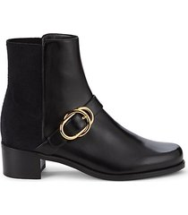 suzanne leather & textile buckle booties