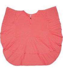 blusa via costeira com decote torcido feminina