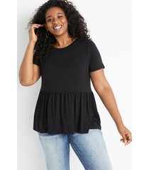 maurices plus size womens 24/7 solid babydoll tee