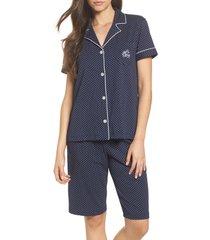 women's lauren ralph lauren bermuda pajamas, size large - blue