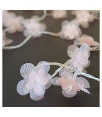 cordáo de luz - luz de fada crie casa organza flower rosa
