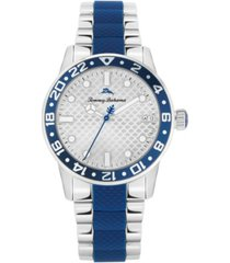 tommy bahama women's silicone center silver-tone steel bracelet strap watch, 36mm